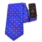 Billede af Blåt silke slips med streg motiv