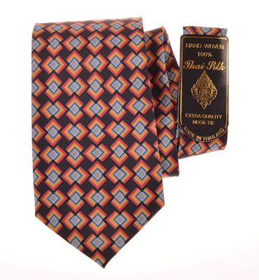 Billede af Sort silke slips med rød-gul  mønster