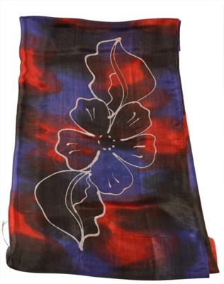 Silke sjal i rød blå og sort
