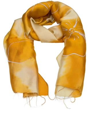 Gyldent aflangt silketørklæde