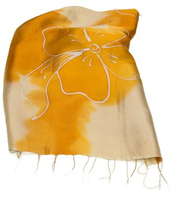 Gyldent aflangt silke halstørklæde