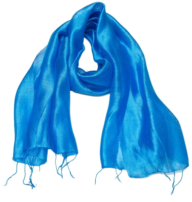Silke tørklæde i blå farver