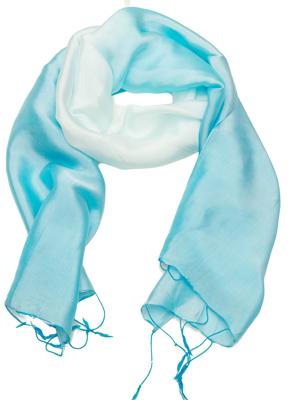 Billede af Turkis og hvid aflangt silketørklæde