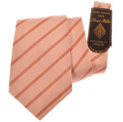 Billede af Laksefarvet silkeslips med striber