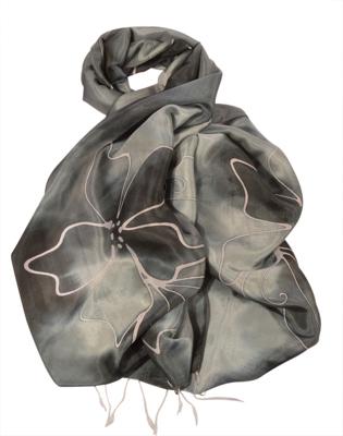 Batik silke tørklæde sort og grå