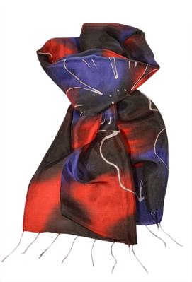 Sort rød blå tørklæde af silke
