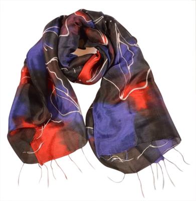 Batik silketørklæde rød blå og sort