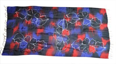 Batik silke tørklæde rød blå og sort