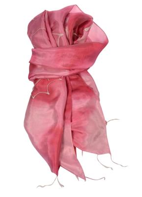 Rosa batik farvet silketørklde