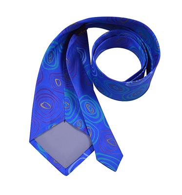Billede af Blåt silke slips med cirkel motiv