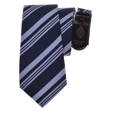 Billede af Sort silke slips med striber