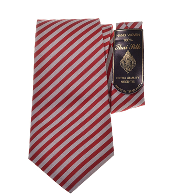 Billede af Rødt silke slips med striber