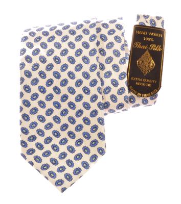 Billede af Hvidt silkeslips med blåt mønster