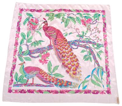 Billede af Silketørklæde med påfugl