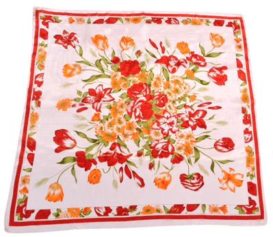 Billede af Silketørklæde med gule og røde blomster.