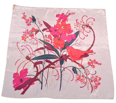 Billede af Silketørklæde med fugl og blomst