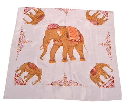 Billede af Silketørklæde med gylden elefant