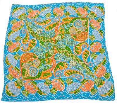 Billede af Silketørklæde med blå gul grøn motiv