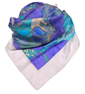 Billede af Silketørklæde med blå elefanter og vand