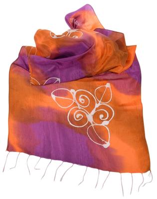 Orange violet silketørklæde
