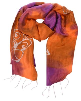 Aflangt batik silketørklæde i orange lilla farver