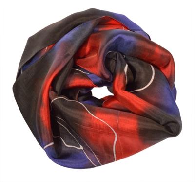 Sort rød blå batik halstørklæde i silke