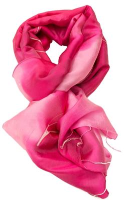 Batik silketørklæde i flot rød farve