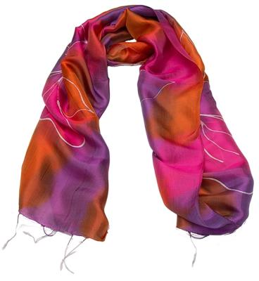 Rød og lilla batikfarvet silke halstørklæde