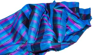 Billede af Blå ternet  silke