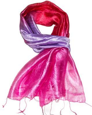 Billede af Rød Violet pink Silketørklæde