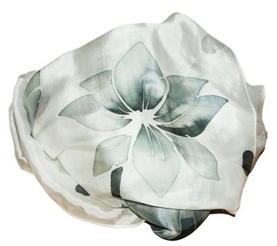 Silke sjal med batik farvning i sort