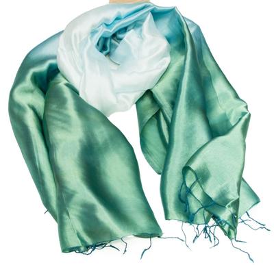 Grøn og hvid silketørklæde