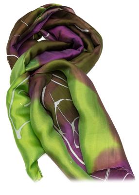 grøn og lille Batik tørklæde af silke