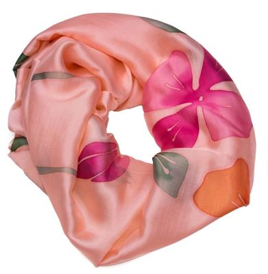 Pink tørklæde i silke med batik farvning