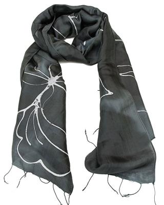 Sort tørklæde med hvid batik farvning - Batik