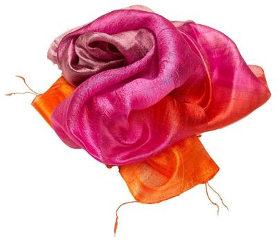 Gult rødt tørklæde af silke