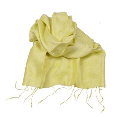 Billede af Citron gult  silketørklæde