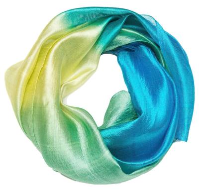 Silke tørklæde, gul, grøn og blå