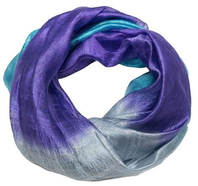Violet- Grå - og blå tørklæde i silke