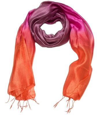 Halstørklæde i pink og orange silke