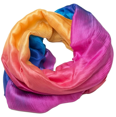 Regnbue farvet silke halslæde