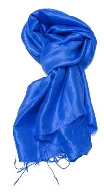 Ensfarvet blåt silke tørklæde